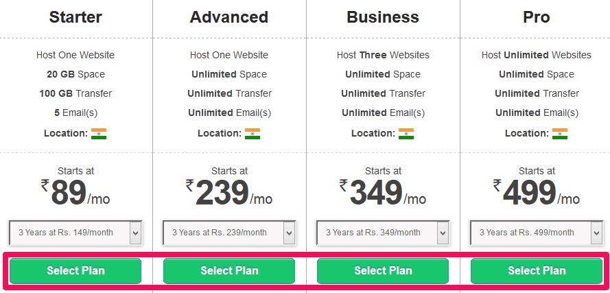 BigRock WordPress Web Hosting Pricing