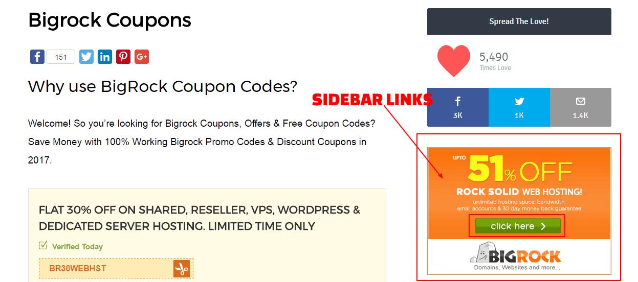Sidebar links