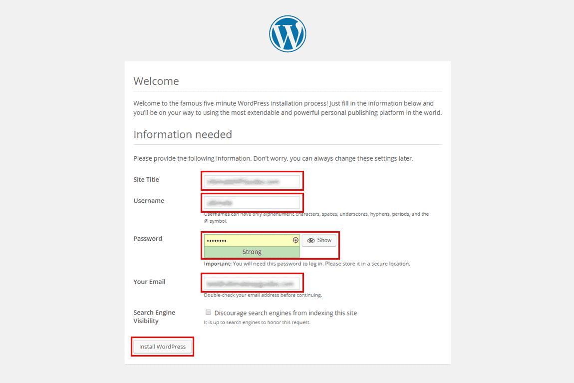 WordPress 5-minute install page