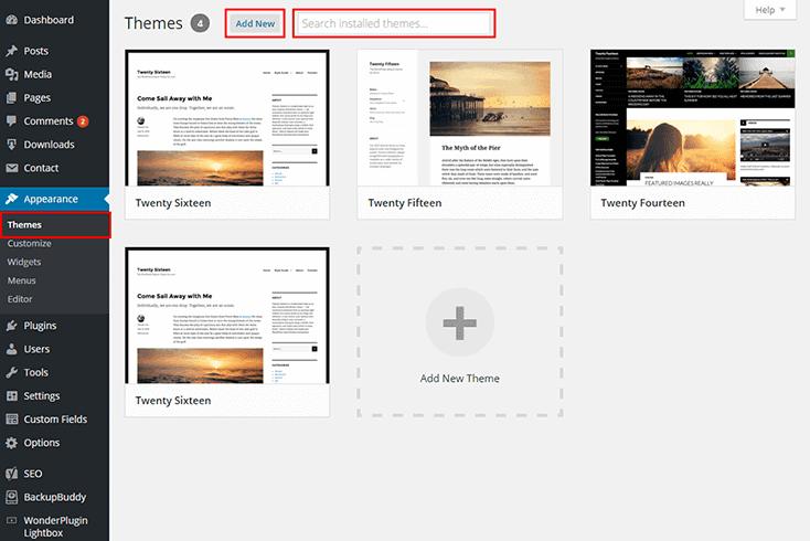 WordPress select new theme